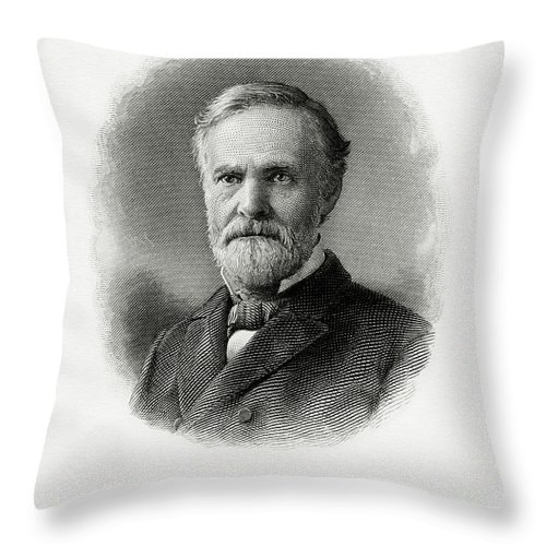 John Sherman Throw Pillow featuring the painting John Sherman by The Bureau of Engraving and Printing