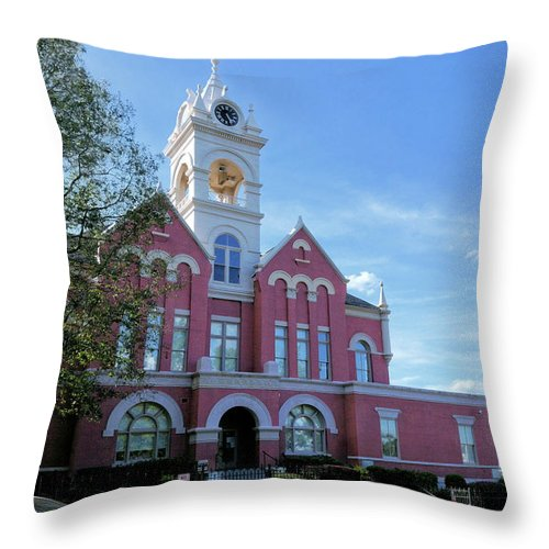 Courthouse Throw Pillow featuring the photograph Jones County Court House - Gray, Georgia by John Trommer