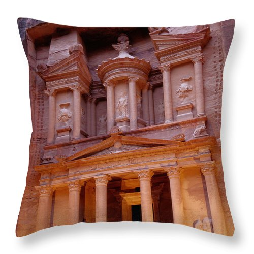 Stability Throw Pillow featuring the photograph Jordan, Petra, The Treasury by Nevada Wier
