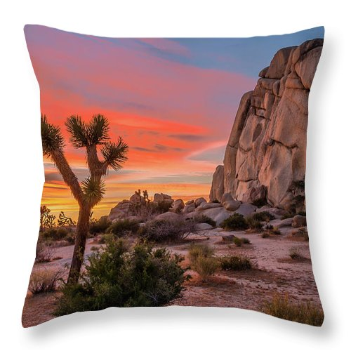 California Throw Pillow featuring the photograph Joshua Tree Sunset by Peter Tellone