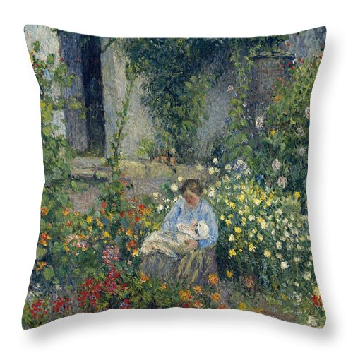 Camille Pissarro Throw Pillow featuring the painting Julie And Ludovic-rodolphe Pissarro Among The Flowers, 1879 by Camille Pissarro