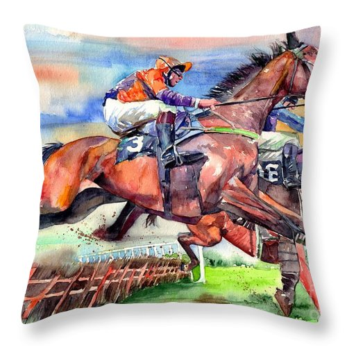 Horse Throw Pillow featuring the painting Jump Racing by Suzann Sines