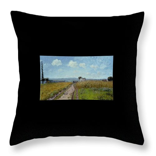 Camille Pissarro Throw Pillow featuring the painting June Morning, View Over The Hills Over Pontoise, 1873 by Camille Pissarro