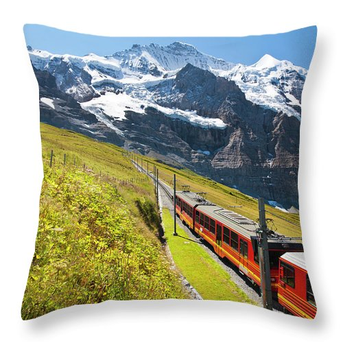 Scenics Throw Pillow featuring the photograph Jungfraubahn, Swiss Alps by Michaelutech