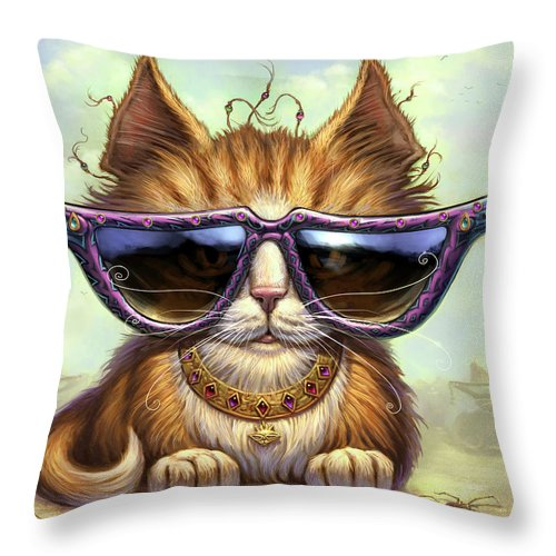 Cat Artwork. Cats Throw Pillow featuring the painting Just Be by Jeff Haynie