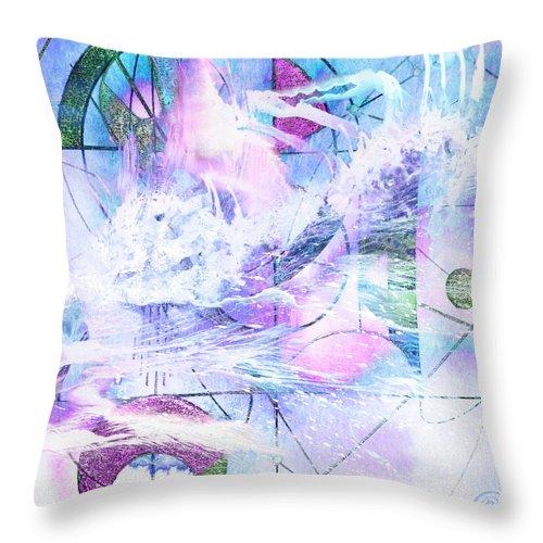 Kaleidoscope Throw Pillow featuring the mixed media Kaleidoscope Sea by Chris Cole