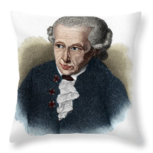 Kant Throw Pillow featuring the drawing Kant, 1724-1804 German Philosopher by European School