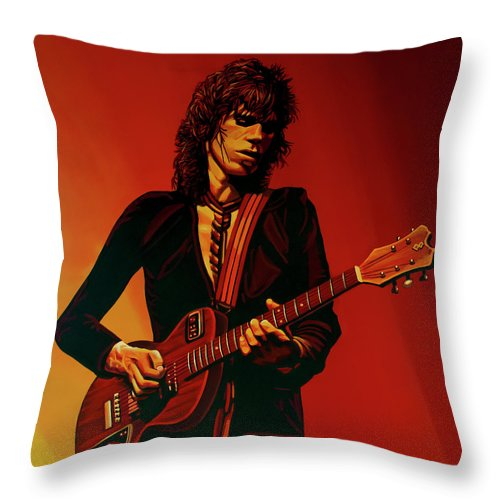 Keith Richards Throw Pillow featuring the painting Keith Richards 3 by Paul Meijering