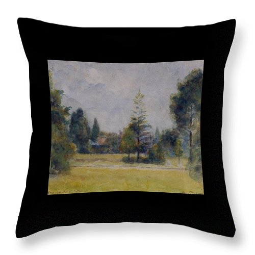 Camille Pissarro Throw Pillow featuring the painting Kew Gardens, 1892 02 by Camille Pissarro
