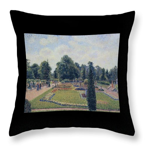 Camille Pissarro Throw Pillow featuring the painting Kew Gardens - Path Between The Pond And The Palm House, 1892 by Camille Pissarro
