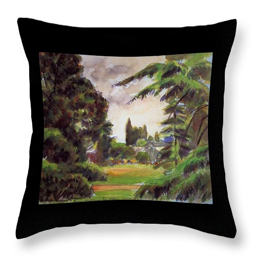 Camille Pissarro Throw Pillow featuring the painting Kew Gardens, The Little Greenhouse, 1892 by Camille Pissarro