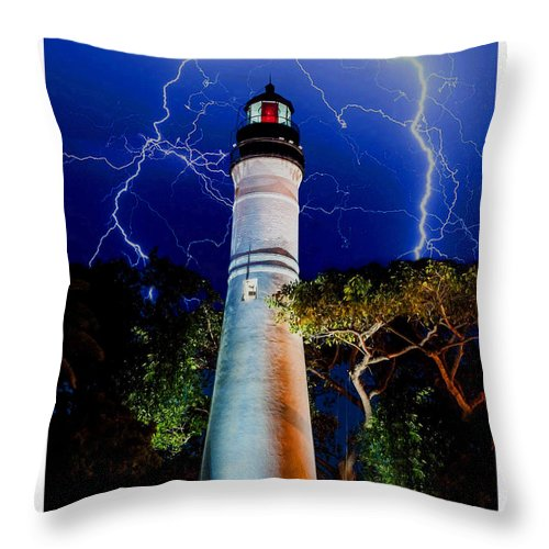 Key West Throw Pillow featuring the mixed media Key West Lighthouse by Jas Stem