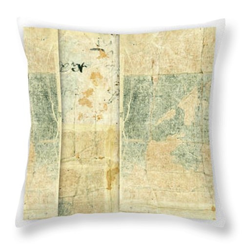 Japan Throw Pillow featuring the mixed media Kimono Triptych 060704 Vertical by Carol Leigh