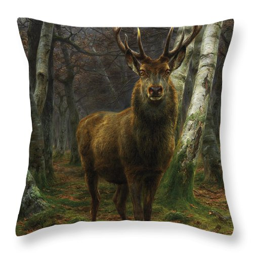 Rosa Bonheur Throw Pillow featuring the painting King Of The Forest by Rosa Bonheur