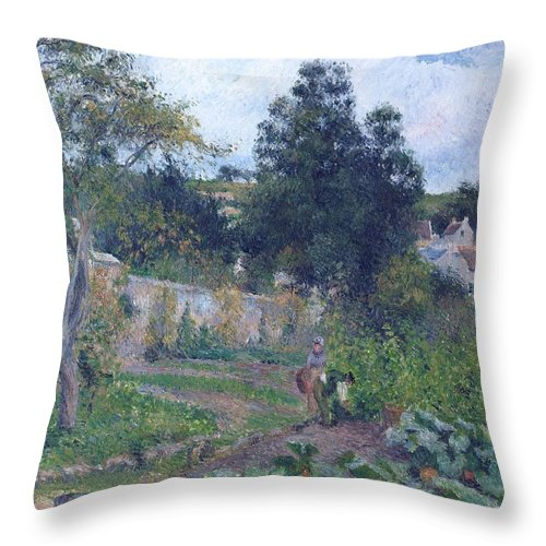 Camille Pissarro Throw Pillow featuring the painting Kitchen Garden At The Hermitage, Pontoise, 1879 by Camille Pissarro