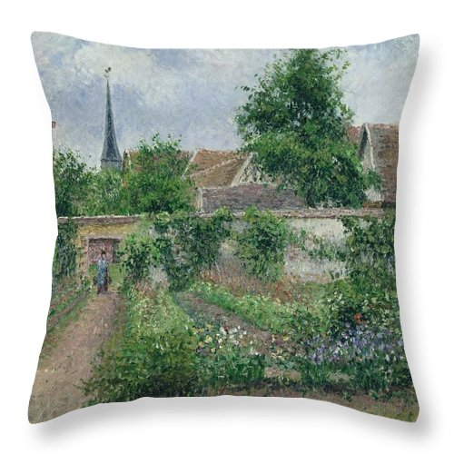 Camille Pissarro Throw Pillow featuring the painting Kitchen Garden, Overcast Morning, Eragny, 1891 by Camille Pissarro