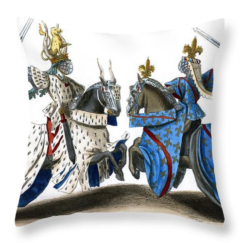 Knight Throw Pillow featuring the drawing Knights During A 14th Century Tournament, Wearing Full Armor by Unknown