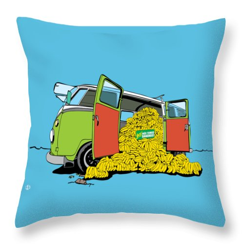 Car Throw Pillow featuring the drawing Kombanana by Fernando Trinkenreich