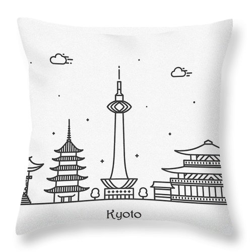 Kyoto Throw Pillow featuring the drawing Kyoto Cityscape Travel Poster by Inspirowl Design