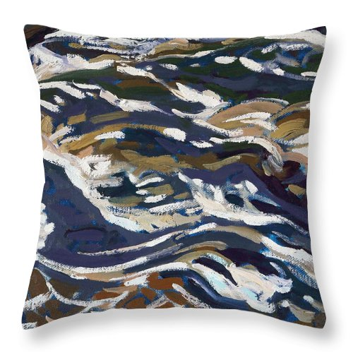 2163 Throw Pillow featuring the painting La Chute Dumoine Cataracts by Phil Chadwick