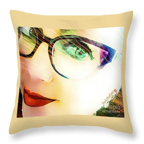 Girl Throw Pillow featuring the mixed media La va rache by Rachel Maynard