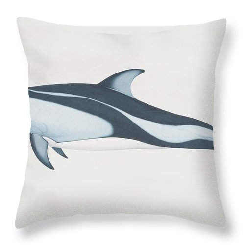 White Background Throw Pillow featuring the digital art Lagenorhynchus Obliquidens, Pacific by Martin Camm
