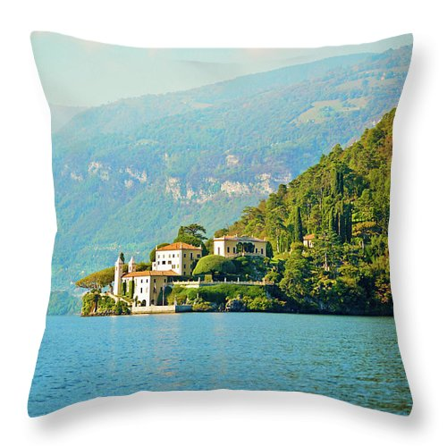 Scenics Throw Pillow featuring the photograph Lake Como Scenic by Anouchka