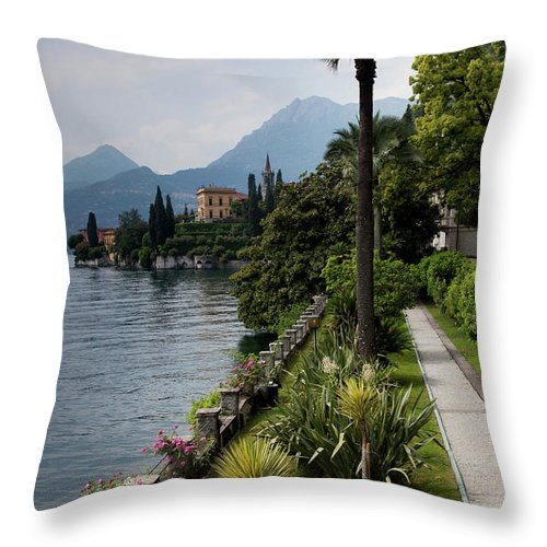 Scenics Throw Pillow featuring the photograph Lake Como, Varenna by Walter Bibikow