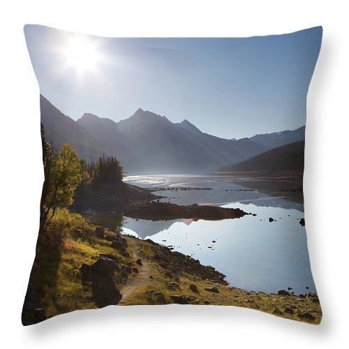 Clear Sky Throw Pillow featuring the photograph Lake Maligne - Jasper National Park by Ingmar Wesemann