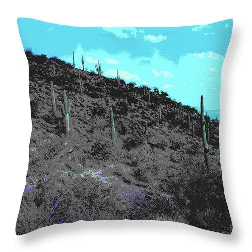 Lake Boat Boating Saguaro Cactus Throw Pillow featuring the photograph Lake Pleasant Az 042a by George Arthur Lareau