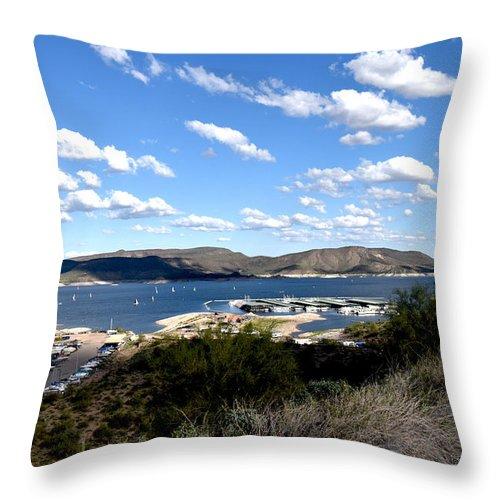Lake Boat Boating Saguaro Cactus Throw Pillow featuring the photograph Lake Pleasant Az 21 by George Arthur Lareau