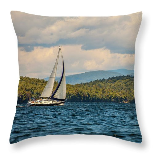 Lake Winnipesaukee Throw Pillow featuring the photograph Lake Winnipesaukee Sailing by Trevor Slauenwhite