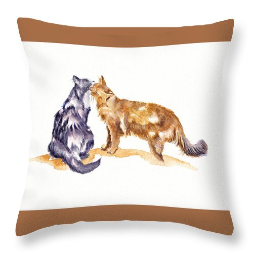 Cats Throw Pillow featuring the painting L'amour - Cats In Love by Debra Hall