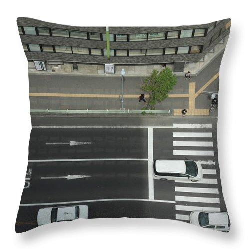 Hokkaido Throw Pillow featuring the photograph Land Vehicles Crossing Pedestrian by Iyoupapa