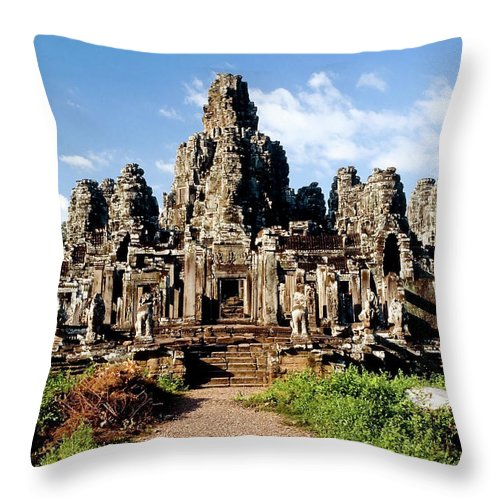 Scenics Throw Pillow featuring the photograph Landscape Photo Of Bayon Temple In by Laughingmango