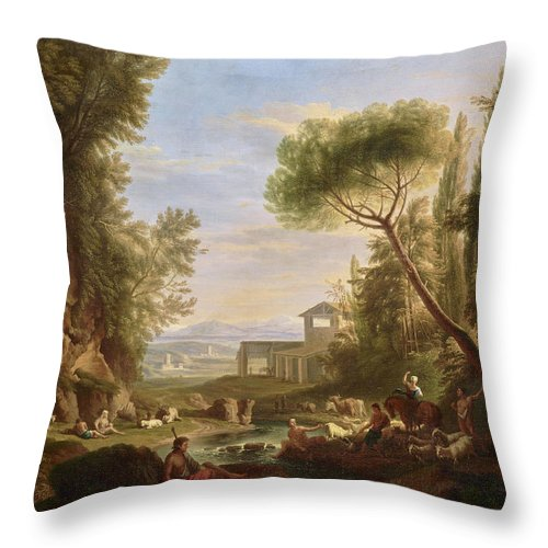 Landscape With Water Throw Pillow featuring the painting Landscape With Water by Raffaele Carelli
