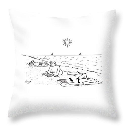 Laptop at the Beach Throw Pillow