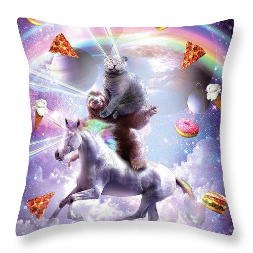 Laser Eyes Space Cat On Sloth Unicorn Rainbow Throw Pillow For Sale By Random Galaxy