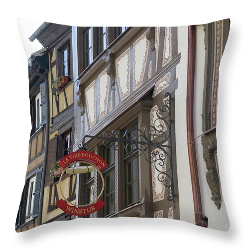 Alsace Throw Pillow featuring the photograph Le Tire Bouchon Winstub Sign by Teresa Mucha