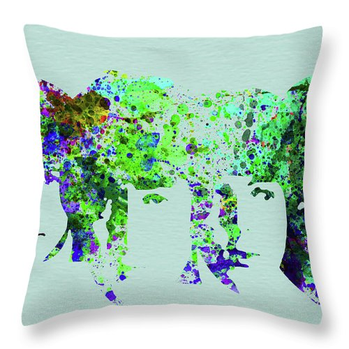 Beatles Throw Pillow featuring the mixed media Legendary Beetles Watercolor II by Naxart Studio