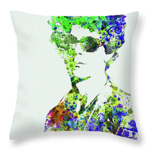 Bob Dylan Throw Pillow featuring the mixed media Legendary Bob Dylan Watercolor by Naxart Studio