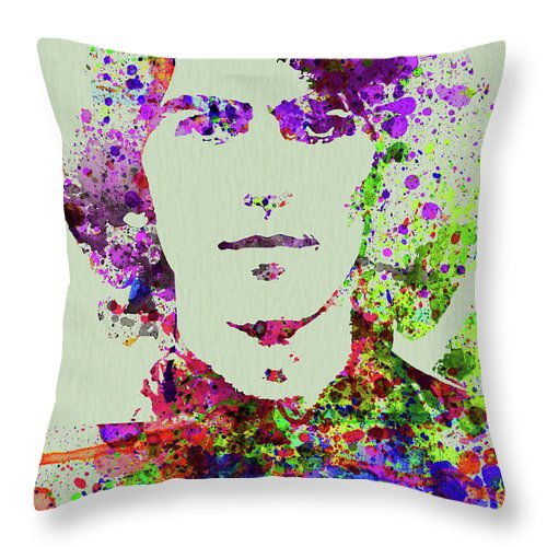 Beatles Throw Pillow featuring the mixed media Legendary George Harrison Watercolor II by Naxart Studio
