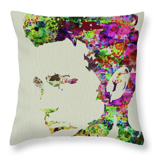 James Dean Throw Pillow featuring the mixed media Legendary James Dean Watercolor by Naxart Studio