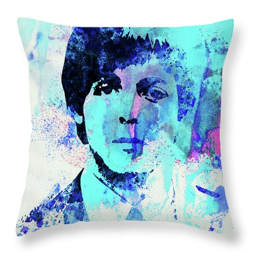 Beatles Throw Pillow featuring the mixed media Legendary Paul Watercolor by Naxart Studio