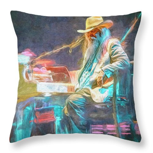 Leon Russell Throw Pillow featuring the mixed media Leon Russell by Mal Bray