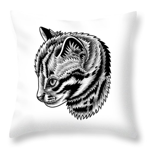 Leopard Throw Pillow featuring the drawing Leopard cat kitten - ink illustration by Loren Dowding