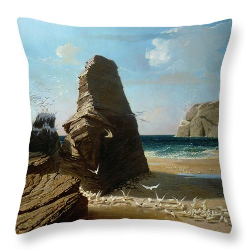 Octave Penguilly L'haridon Throw Pillow featuring the painting Les Petites Mouettes, Small Seagulls by Octave Penguilly L'Haridon