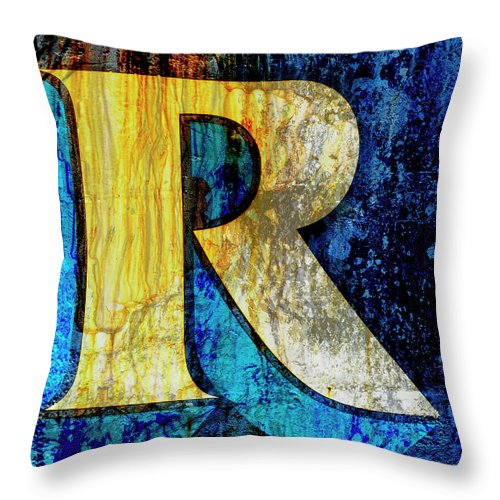 Carol Leigh Throw Pillow featuring the mixed media Letter R by Carol Leigh