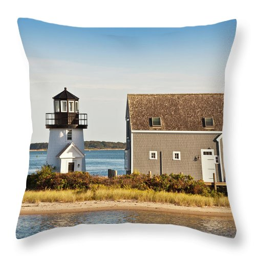 Grass Throw Pillow featuring the photograph Lewis Bay Lighthouse, Hyannis, Cape by Olegalbinsky