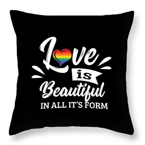 Christopher-street-day Throw Pillow featuring the digital art Lgbt Gay Pride Lesbian Love Is Beautiful In All Its Form by Haselshirt